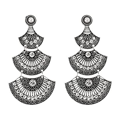 Crunchy Fashion Stylish Bollywood Indian Jewelry Oxidized Silver Indian Jewelry Dangle and Drop Earrings for Women