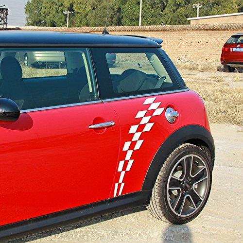 (charminghorse 2 Pecies for Mini Cooper R56 R57 R58 Clubman R55 F54 R60 F56 F55 R61 Car Door Sticker Racing Checker Flag Side Stripes Graphic Decal (white))