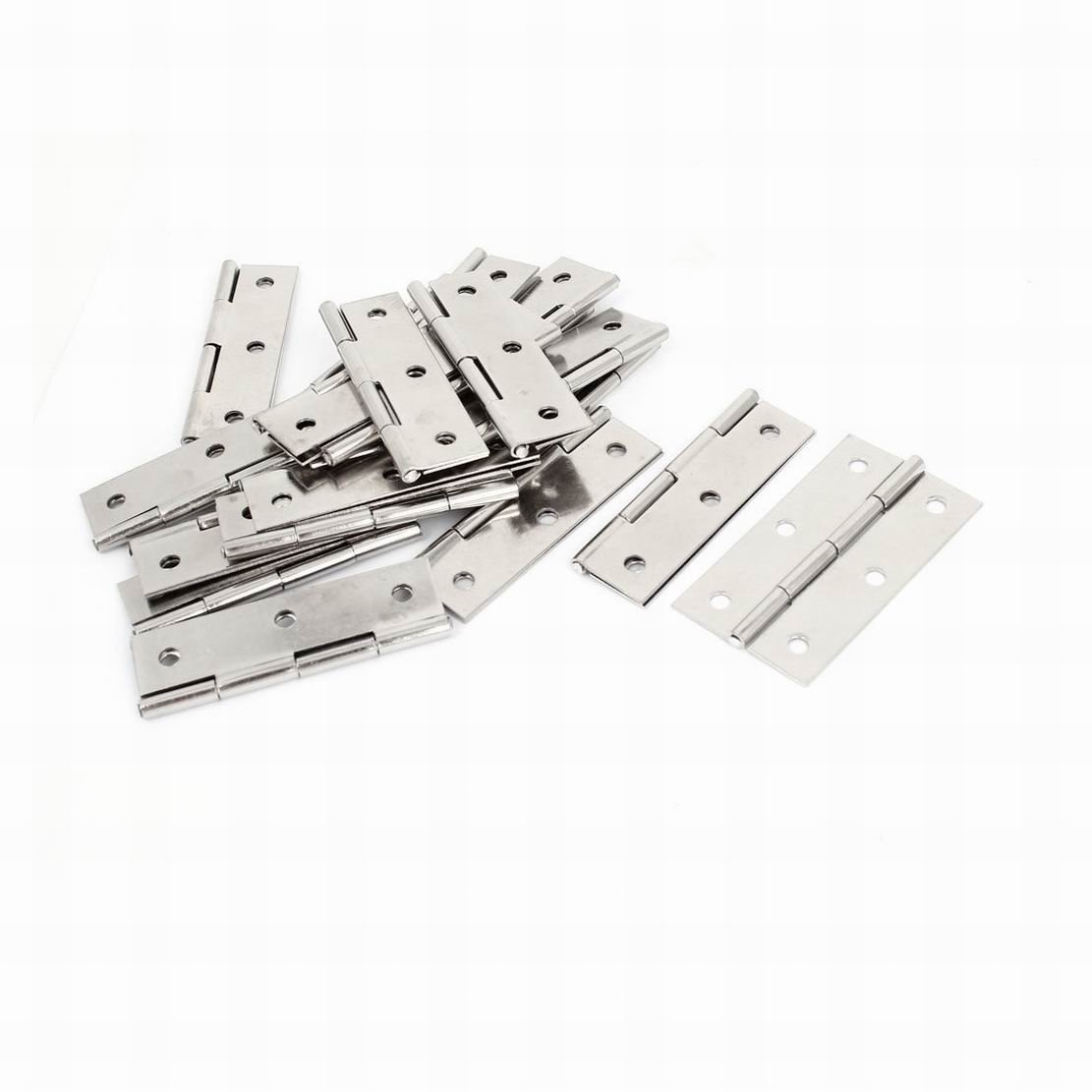 MariaP 2.7 Inch Screws Mounted Cabinet Door Butt Hinges Silver Tone 20 Pcs