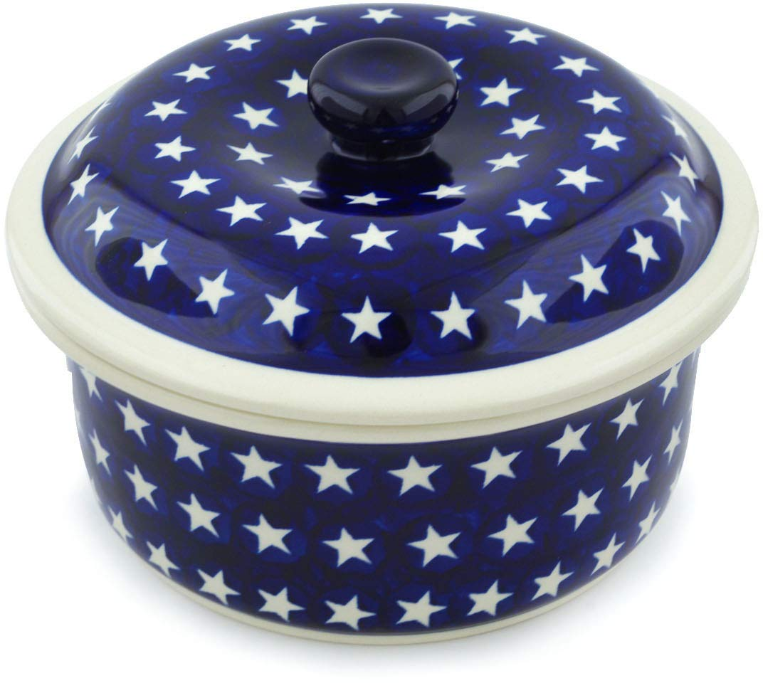Polish Pottery 7¾-inch Dish with Cover (America The Beautiful Theme) + Certificate of Authenticity