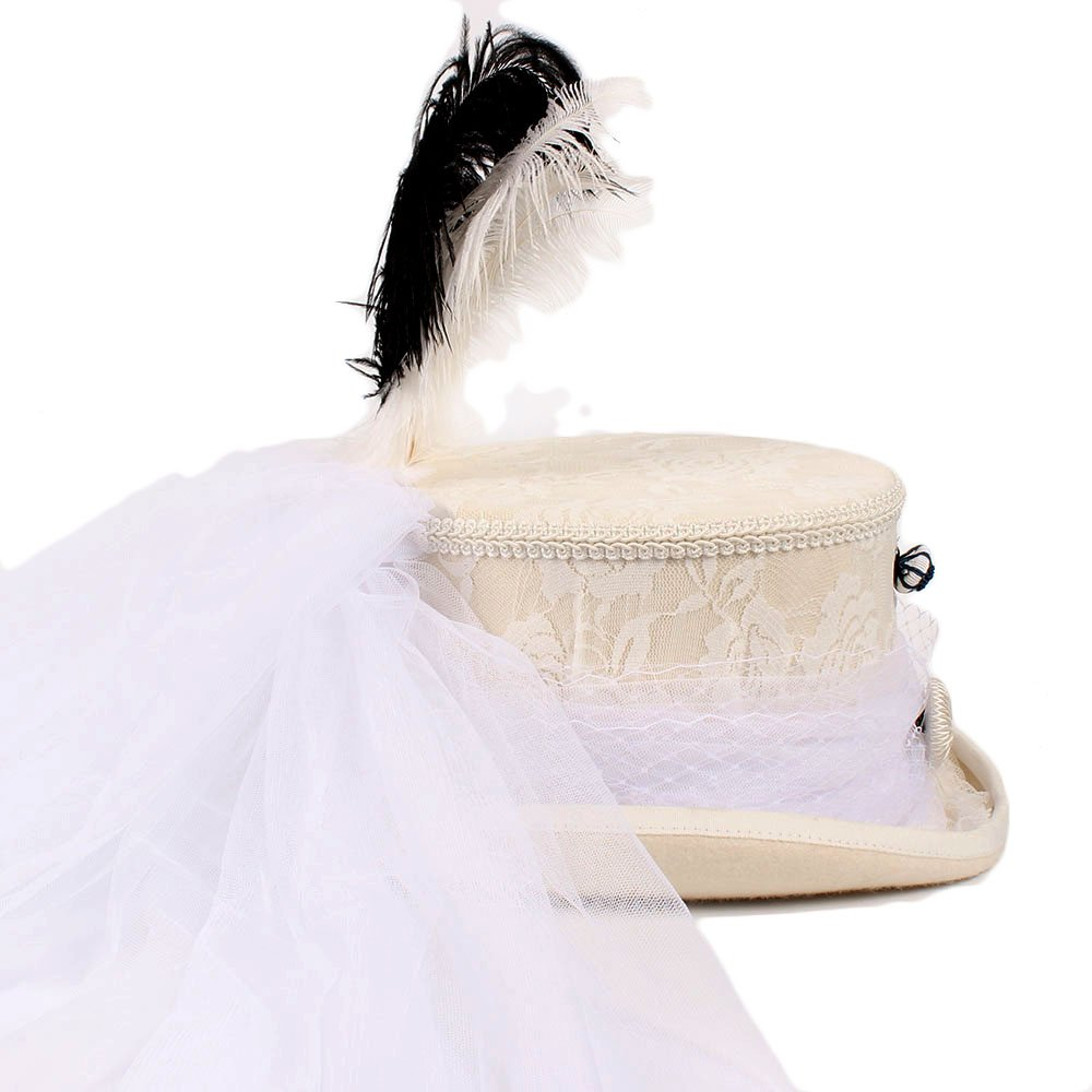 Ruanyi Victorian Gothic Ivory Handmade Lace White Wedding Hat Steampunk Hat Top Hat ( Color : 1 , Size : 61CM ) by Ruanyi