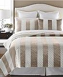 Martha Stewart Collection Siena Stripe Bedspread Quilt Taupe Cream: FULL/QUEEN