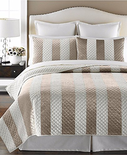 Martha Stewart Collection Siena Stripe Bedspread Quilt Taupe Cream: FULL/QUEEN