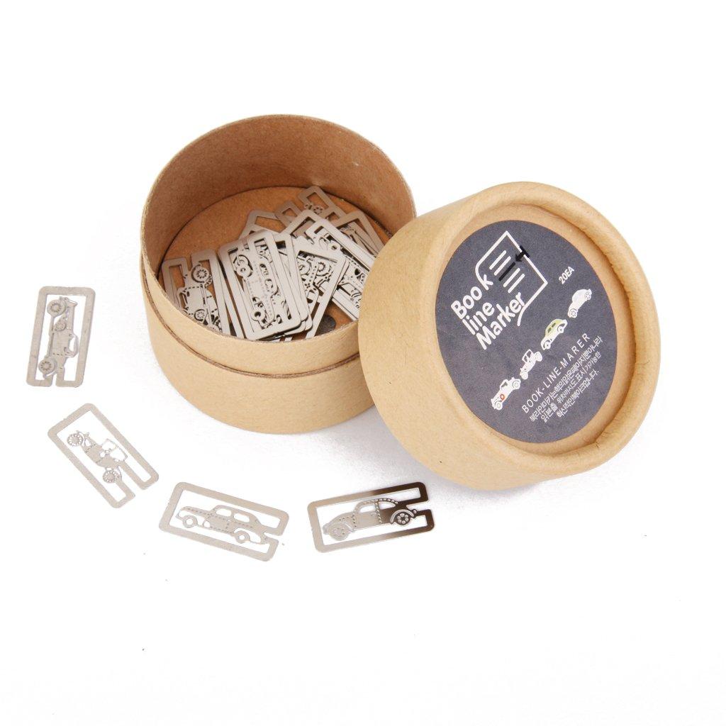 Caja 20Pcs Marcadores de Libros Marcapaginas Metal 4 Estilos de Hoja Pez Pájaro Casa Generic