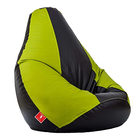 Comfy Bean Bags Teardrop Shape Bean Bag without Bean Fillers  XXL, Black and Pea Green