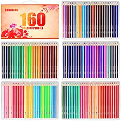 Soucolor 160 Colored Pencils Set Artist Drawing Coloring Pencils for Adult Coloring Books Art Projects