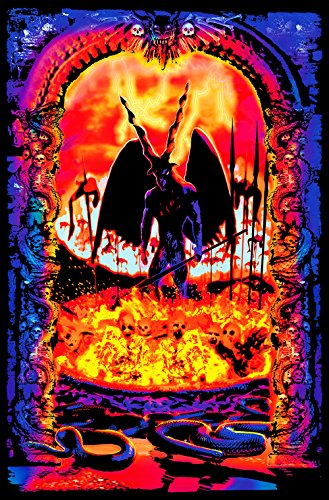 Gates of Hell Purgatory Lucifer Sinners Souls Burning Psychedelic Trippy Blacklight Poster 23x35 inch
