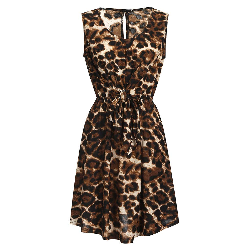 ODJOY-FAN Estate Leopardo V-Collo vestibilit/à Slim Vestito Donna Elegante Gonna Pieghettato Asimmetrica Cocktail Swing Spiaggia Abito