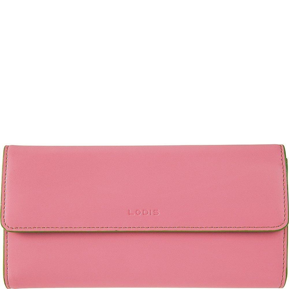 Lodis Womens Audrey Leather Flap Checkbook Clutch Wallet (Pink & Kiwi)