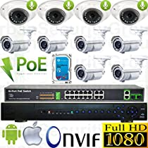 USG Sony DSP 10 Camera 1080p 2mp IP PoE Audio CCTV Kit: 1x 24 Ch 5MP NVR + 4x 3.6mm Dome w/ Mic. + 6x 2.8-12mm Auto-Focus & Remote Zoom Bullet + 1x 18 Port PoE Switch + 1x 4TB HD * Apple Android App