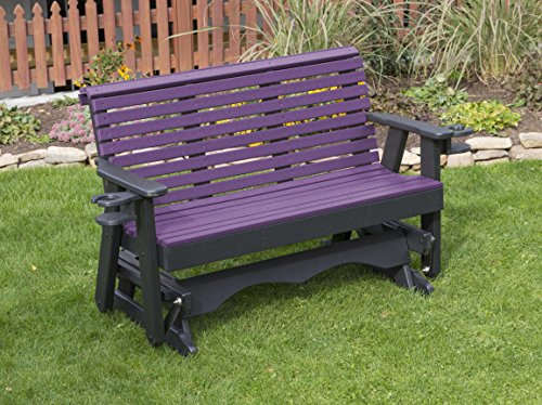 5FT-BRIGHT PURPLE-POLY LUMBER ROLL BACK Porch GLIDER with Cupholder arms Heavy Duty EVERLASTING PolyTuf HDPE - MADE IN USA - AMISH CRAFTED
