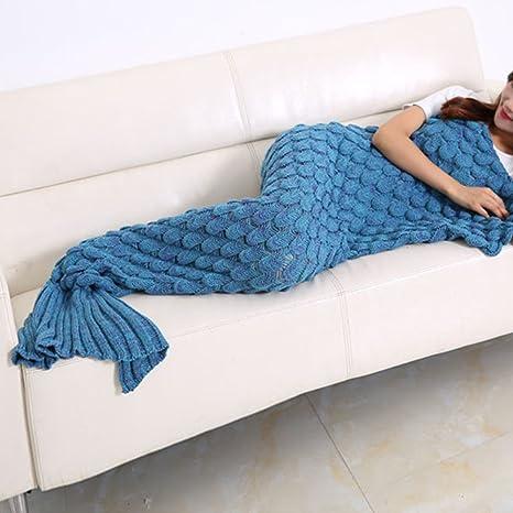 Las mujeres de sirena cola de pez manta de punto Crochet ...