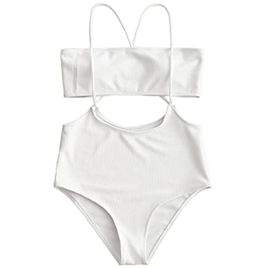 1ea52b2a3b062 ZAFUL Women Bikini Swimsuit Bandeau Top and High Waisted Slip Bottom Cami Bathing  Suit,White S: Amazon.co.uk: Clothing