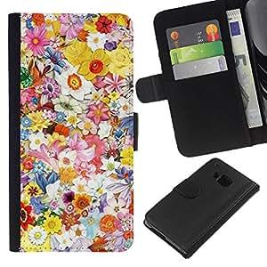 iBinBang / Flip Funda de Cuero Case Cover - Primavera Diseño floral del arte del campo del verano - HTC ONE M9