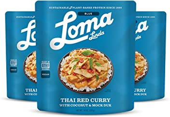 Loma Linda Blue - Vegan Complete Meal Solution - Heat & Eat Thai Red Curry (10 oz.) (Pack of 3) - Non-GMO
