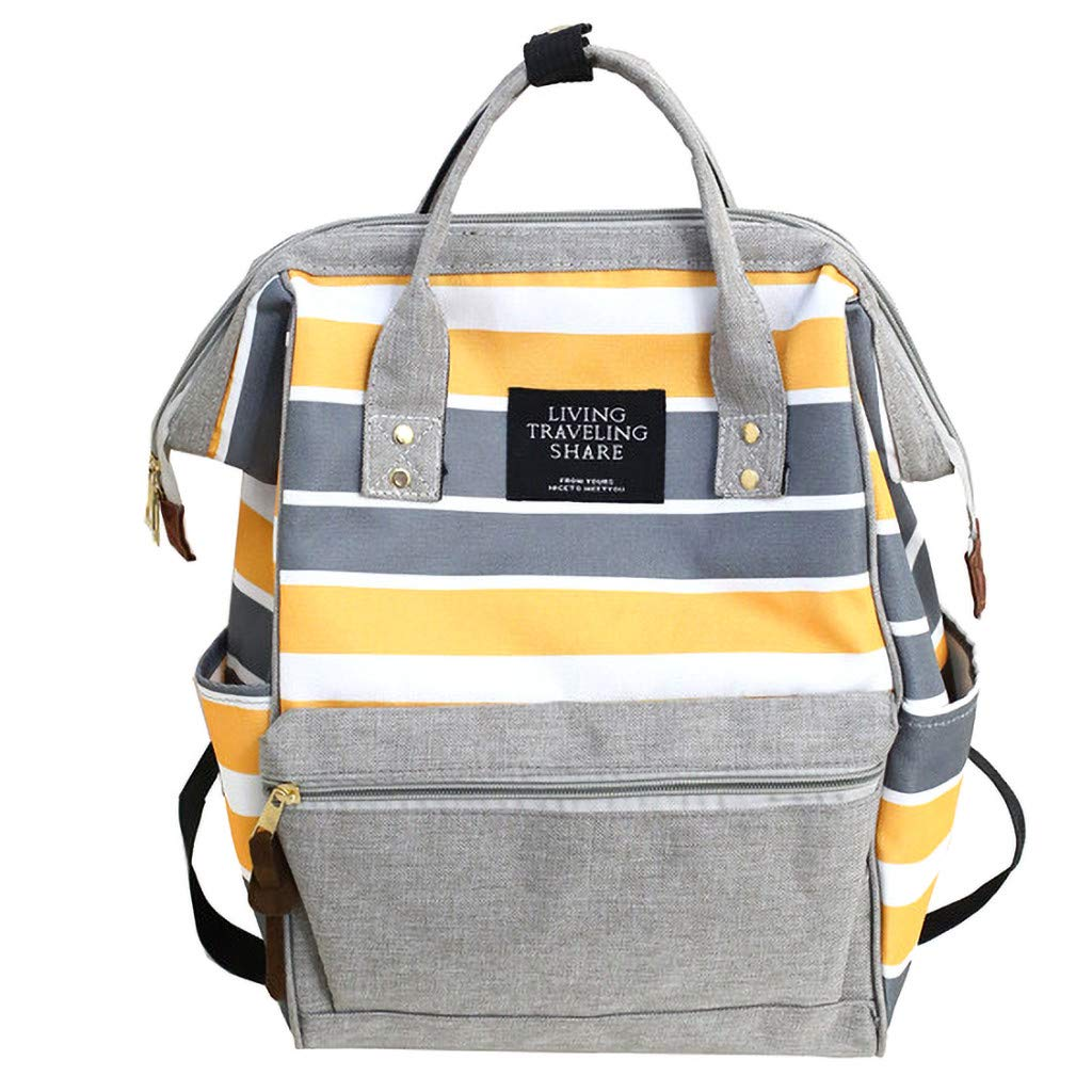 Large-Capacity Canvas Student Fashion Clip Stripe Contrast Color Backpacks