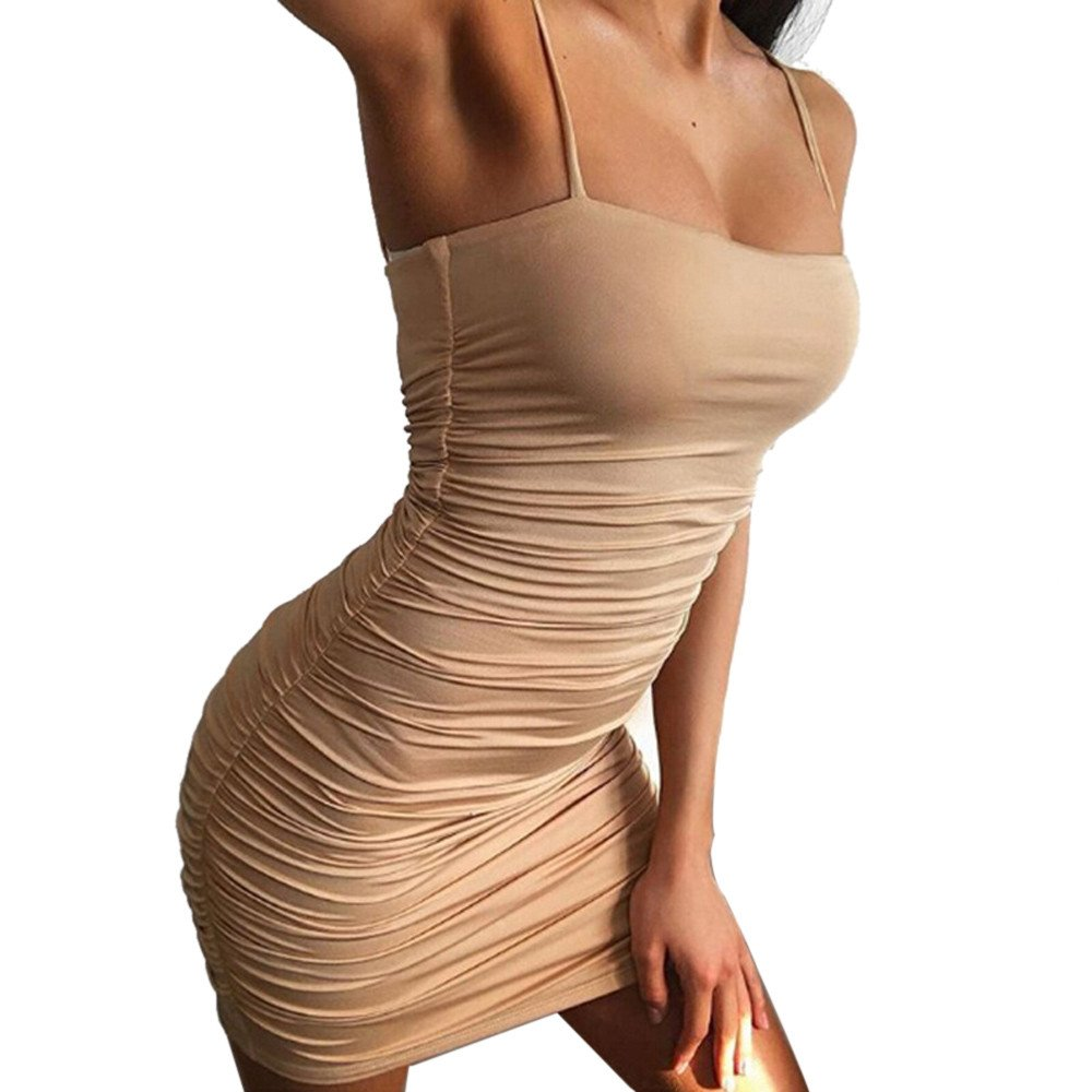 Winsummer Women's Sexy Spaghetti Strap Sleeveless Bodycon Mini Club Dress Khaki