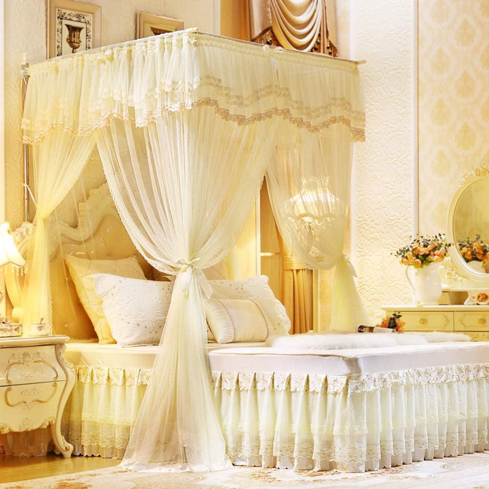 姫ベッドキャノピー,引き込み式 暗号化糸 防蚊ネット ダブルベッド用欧州コートラグジュアリーベッドカーテン-b