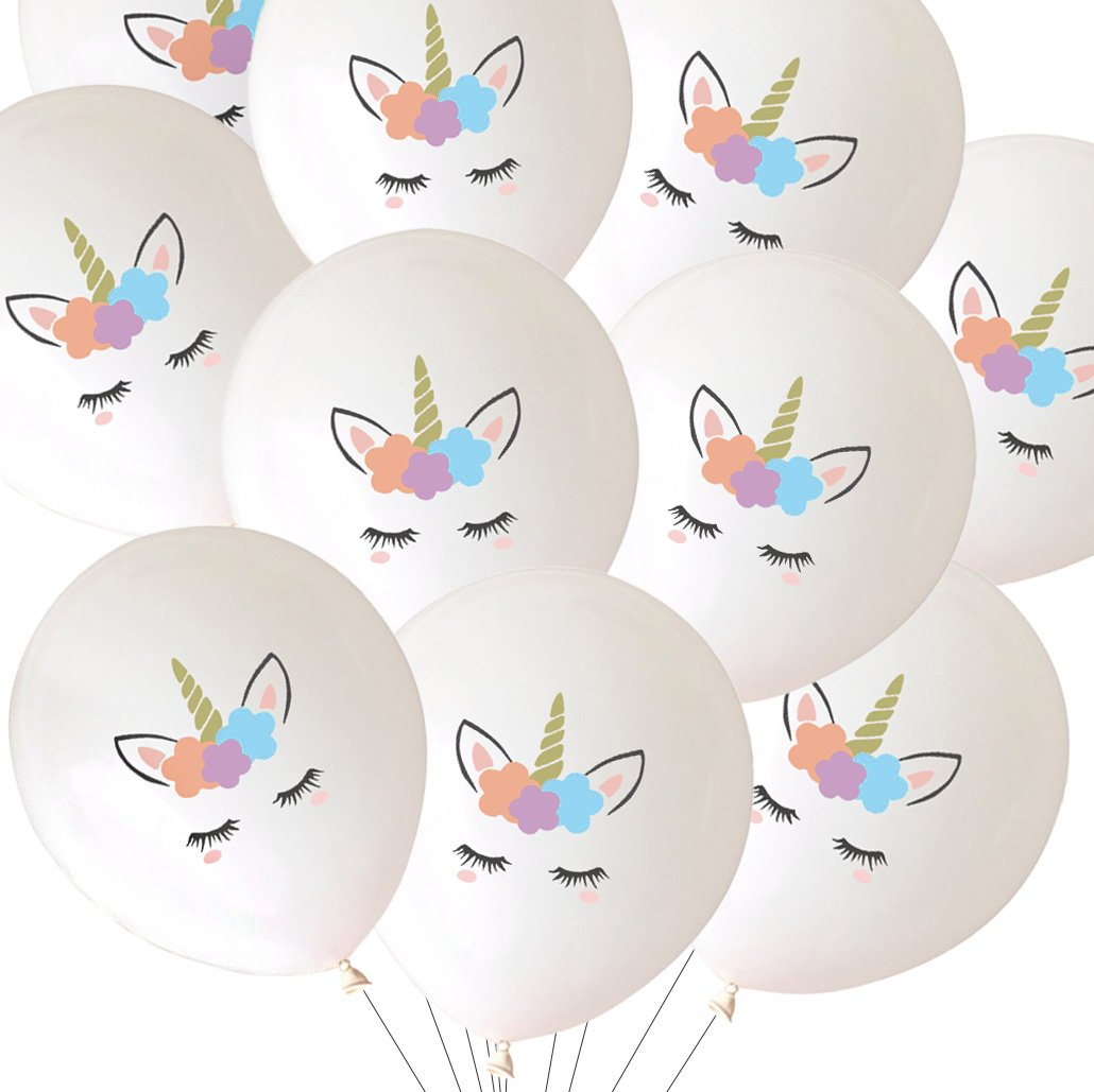 LUCK COLLECTION Unicorn Balloons Party Decorations 30 Packs White SG/_B079L89S4C/_US