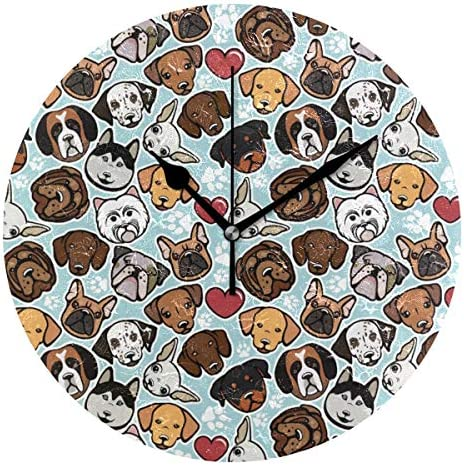 UKIO 掛け時計 置き時計 壁掛け時計 犬柄 足跡柄 動物柄 部屋装飾 壁時計 インテリア おしゃれ かわいい アート 部屋 ウォールクロック 円型