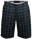 Tattoo Golf Hazard Plaid ProCool Men's Golf Shorts - Charcoal/Black - 36