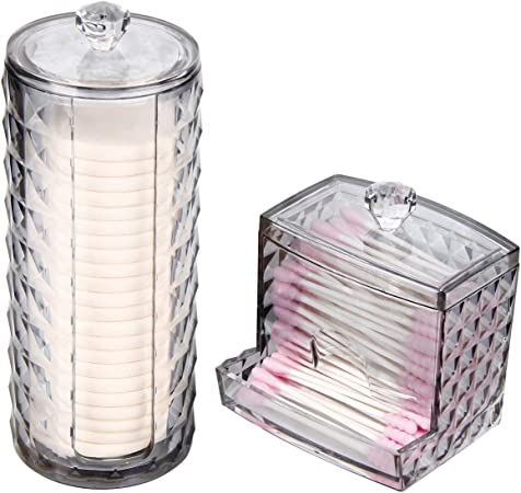 WELTRXE - Dispensador de bastoncillos de algodón con tapa: Amazon.es: Hogar