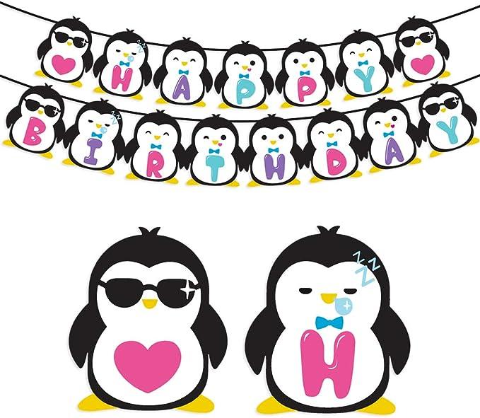 Kreatwow Suministros para Fiestas de cumpleaños de pingüinos - Penguin Happy Birthday Banner para Decoraciones de Fiestas Infantiles: Amazon.es: Juguetes y juegos