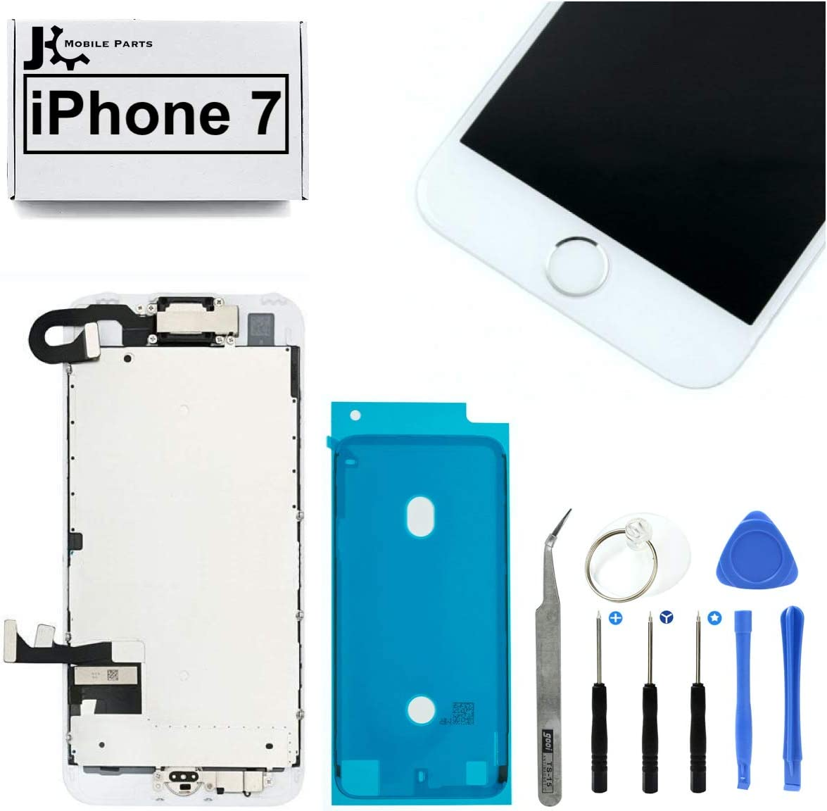 Full Screen Replacement LCD 3D Touch Assembly Front Camera Ear Speaker Home Button with Frame Adhesive and Repair Tools for iPhone 7 4.7 inch (Silver)