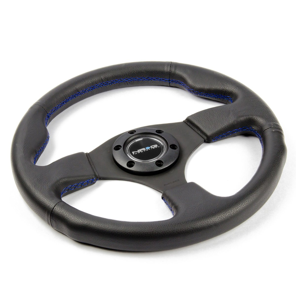NRG ST-012R-BL Race Series 320mm Sport Black Leather Steering Wheel Blue Stitch