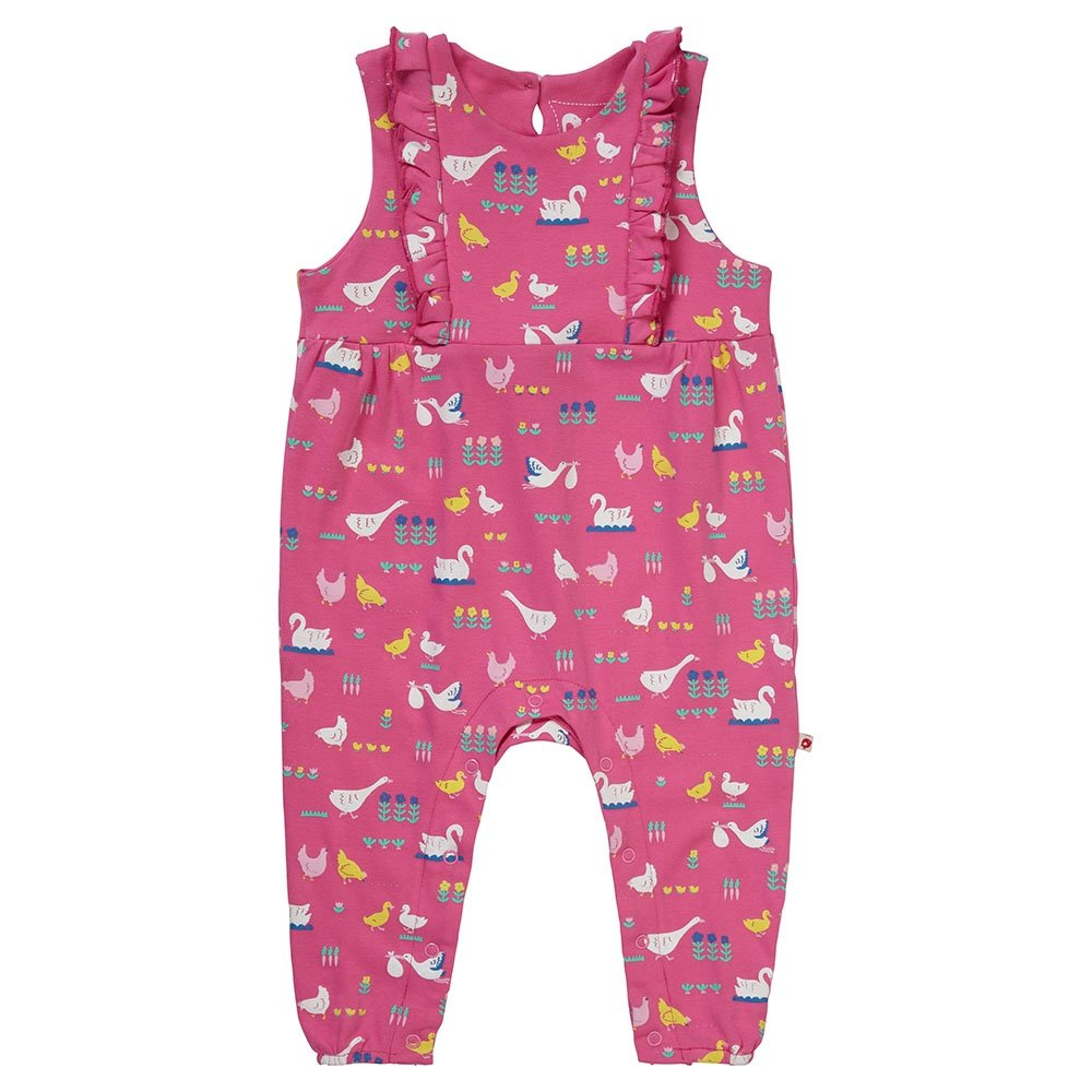 Piccalilly Children's Pink Jersey Dungarees Premium Organic Cotton Bird Design