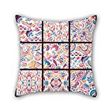PILLO throw pillow covers of color block 20 x 20 inches / 50 by 50 cm,best fit for home office,floor,drawing room,seat,divan,her twin sides