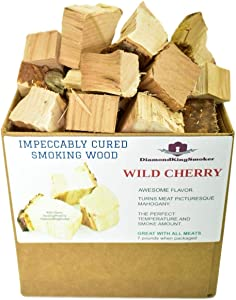 DiamondKingSmoker Wild Cherry Smoking Wood Chunks 100% All Natural Barbecue Smoker Chunks for Grilling and BBQ | Large Cut Smoker Chips | Impeccably Cured for Premium Flavor Profile (7lbs)