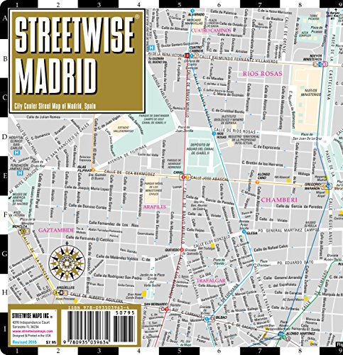 Streetwise Madrid Map  Laminated City Center Street Map of