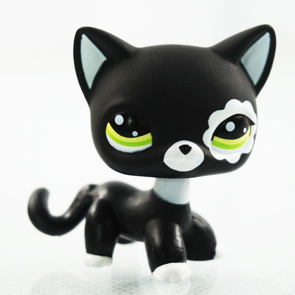 # 2249 Cute Figure Toy Rare Cat Black Green Eyes Flower Patch Kids Pet Shop LPS crossed3_Pet toy store