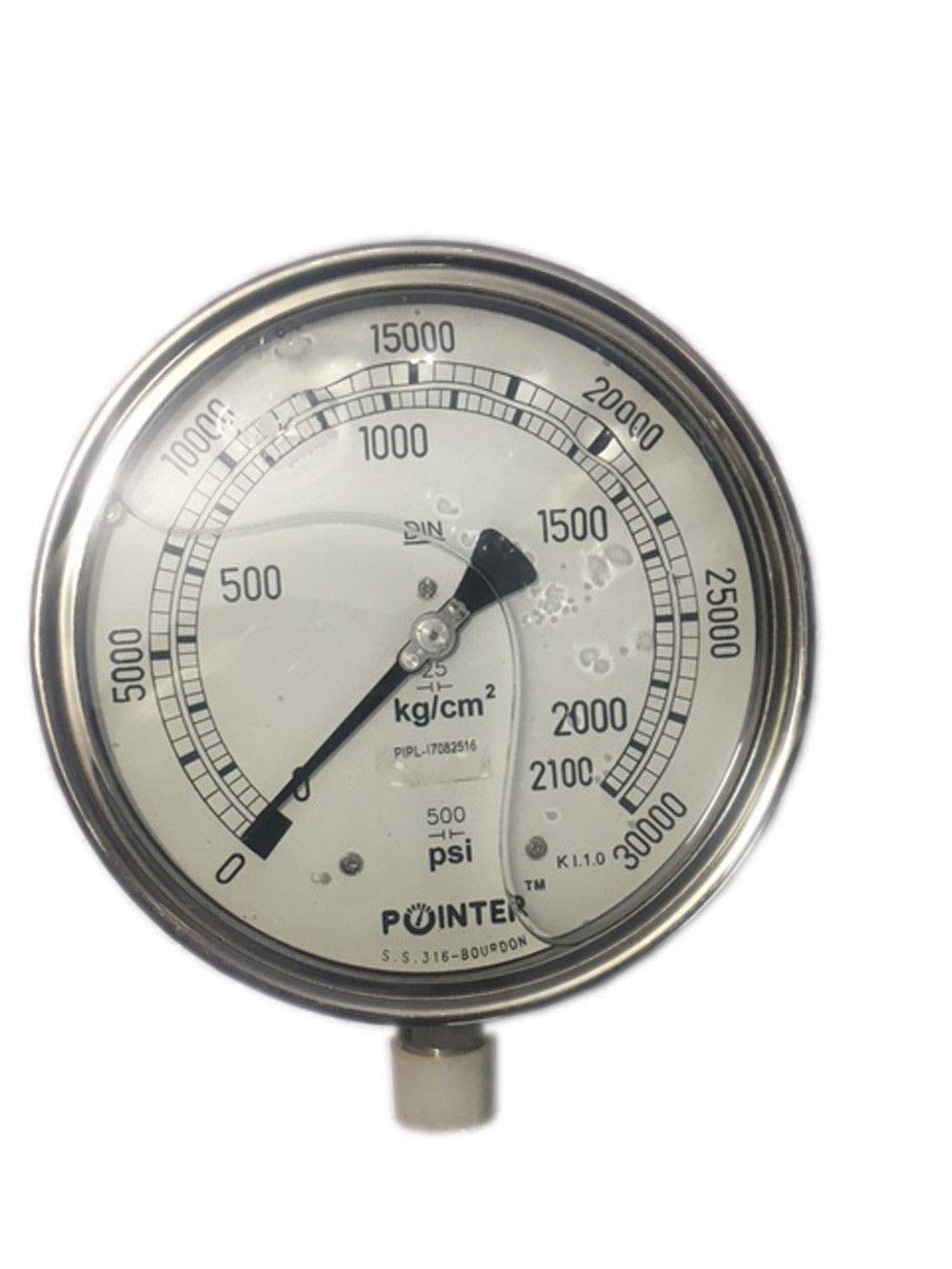High Pressure Gauge Dual Scale 0-2000 BAR / 0-30000 PSI Ideal for Common Rail