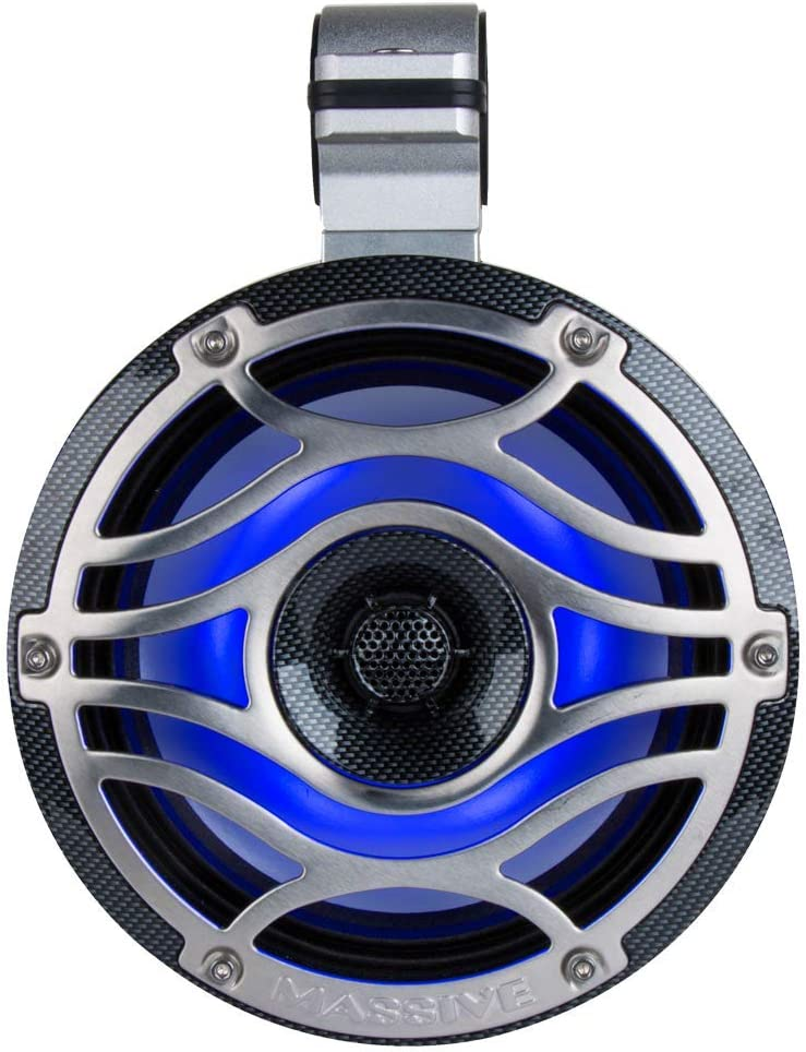 Motorcycles Marine Coaxial Speakers for Boats Massive Audio 6.5 Inch 80 Watts RMS // 320 Watts Peak Off Road Runabouts with Multi Color RGB LED Pulse Lighting UTVS T65XE Gold Carts