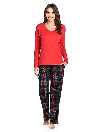Ashford   Brooks Women s Long Sleeve Cotton Top with Mink Fleece Pants Pajama  Set - Black 3cc5fff19