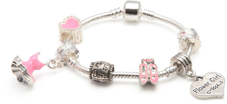 Liberty Charms Flower Girl 'Love To Dance' Bracelet en argent plaqué / perle. Avec boîte cadeau et pochettes. Cadeau de fillette de fillette 16 cm (autres tailles disponibles) Liberty Charms Ltd BCP05G_16cm