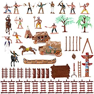 Liberty Imports Wild West Cowboys and Native American Indians Plastic Figure Soldiers Toys Bucket Playset (55 Pieces)