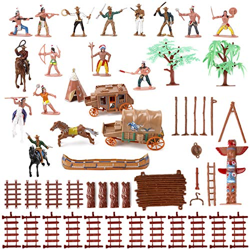Liberty Imports Wild West Cowboys and Native American Indians Plastic Figure Soldiers Toys Bucket Playset (Best Gun For Buffalo Hunting)