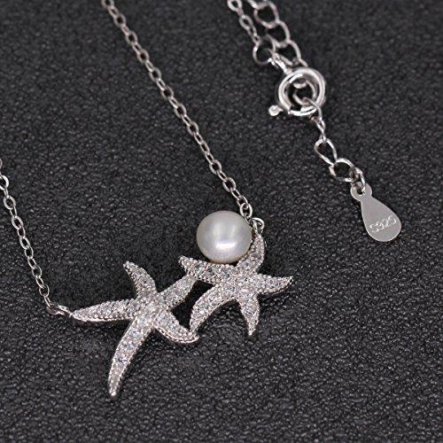 Pendientes y collar con diseño de estrella de mar y circonita AAA de plata de ley