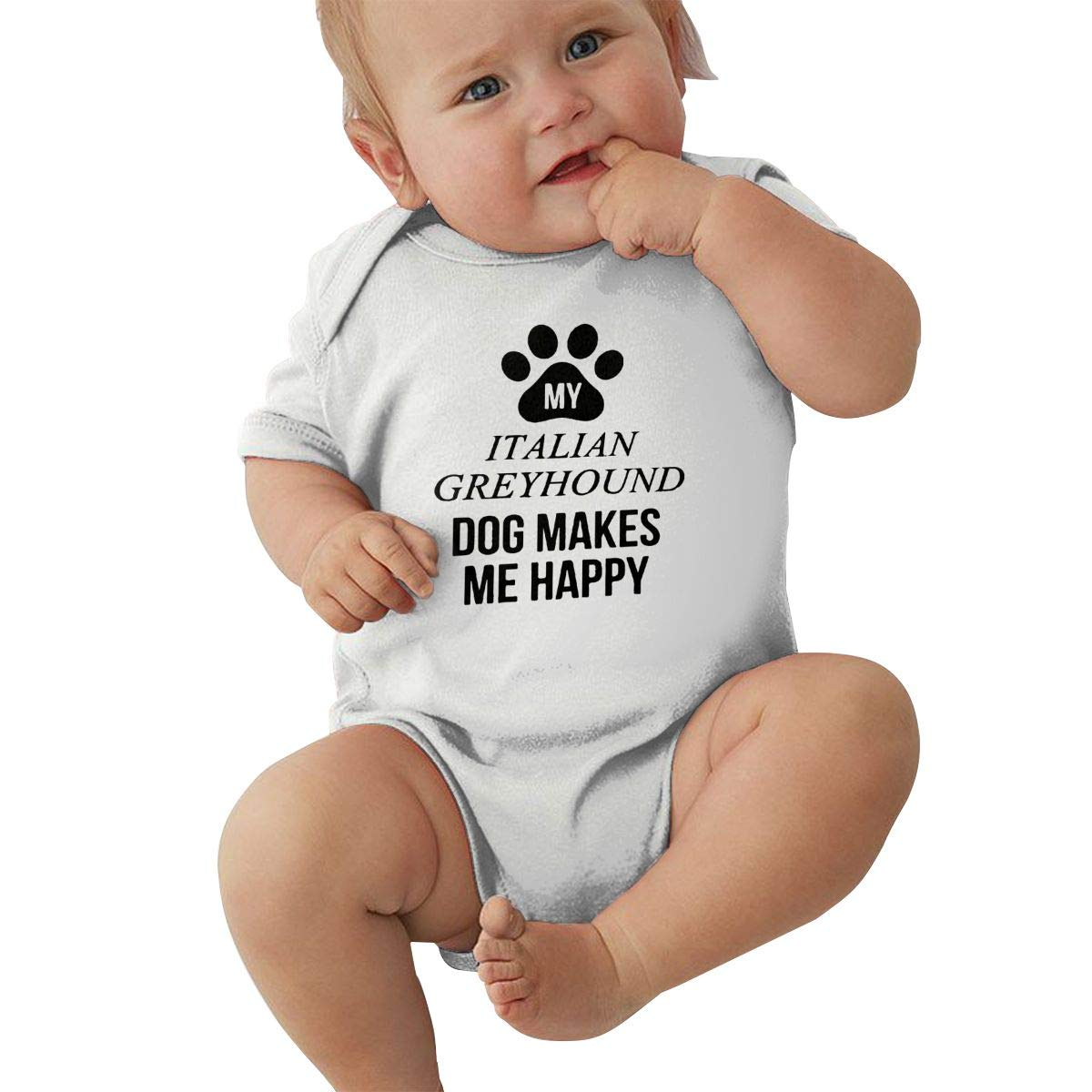 Baby Girl Short Sleeve Jumpsuit My Italian Greyhound Makes Me Happy-1 Baby Clothes