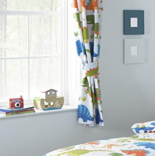 Curtains Ideas boys dinosaur curtains : CHILDRENS CURTAINS ONE PAIR OF DINOLAND DINOSAURS BLUE ORANGE ...