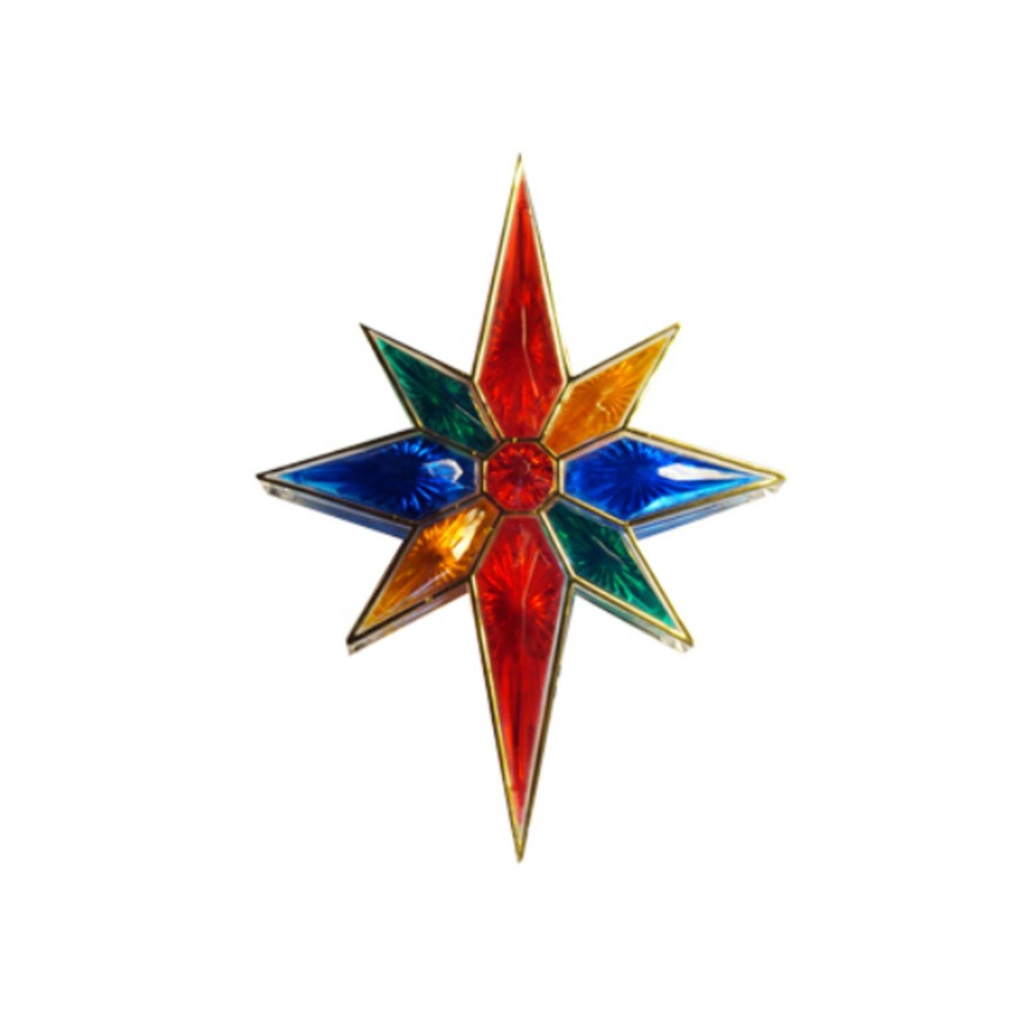 Sienna Lighted Faceted Multicolored Bethlehem Star Christmas Tree Topper with Clear Lights, 11''