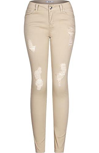 2LUV Women's Stretchy 5 Pocket Destroyed Dark Denim Skinny JeansÂ