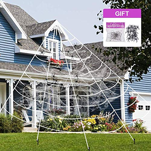 Hely Cancy Halloween Decorations,Giant Spider Web with Super Stretch Cobweb and 30 Mini Spiders Set for Halloween Party Supplies Yard Halloween Outdoor Decor Haunted Decoration,23×19 Feet