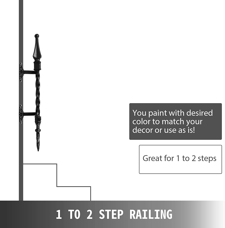 VEVOR Rampe descalier Fer Forg/é Main Courante pour Escalier Int/érieur 50.8CM Garde-Corps Escalier Int/érieur S/écuritaire Barre descalier en Fer Forg/é 1 /à 2 Marches Porche Entr/ée Jardin