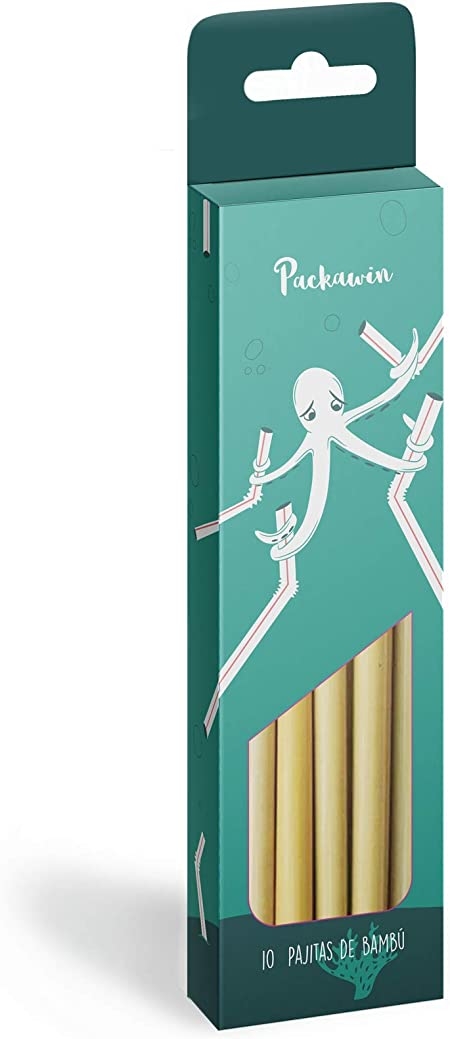 Pajitas Bambú Packawin | Pack 10 pajitas + Limpiador | Producto ecológico, reutilizable y biodegradable | Pajitas cócteles | Pajitas largas |: Amazon.es: Hogar