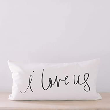 Lumbar Pillow - I Love Us, Handmade in the USA, calligraphy, home decor, wedding gift, engagement present, housewarming gift, cushion cover, throw pillow