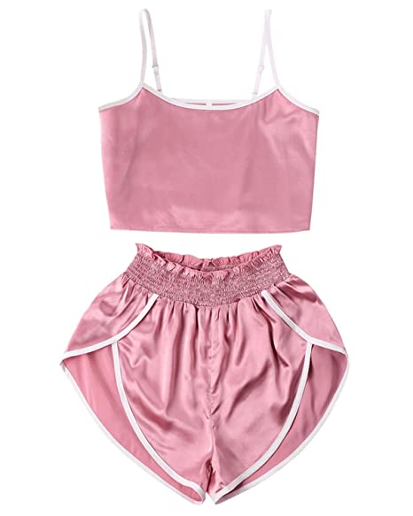 517bcf7b ZAFUL Women's Sport 2 Pieces Satin Set Spaghetti Strap Crop Tank Top and  Dolphin Shorts